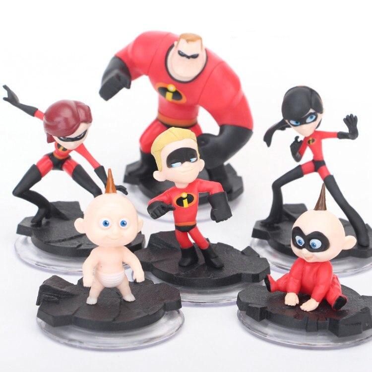 6pcs/set Super Man The Incredibles 2 Mr. Incredibles Dash Parr Jack Parr Elastigirl PVC Model Action Figure Toys Boy Gift 3-10cm
