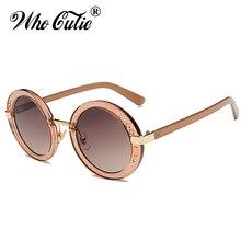 e8e238258c WHO CUTIE 2017 Small Rhinestone Round Sunglasses Women Retro Crystal Circle  Clear Lens Sun Glasses Coating