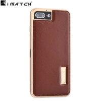Dla iphone 7 case cover, Najwyższej Jakości Prawdziwej Skóry Back Cover Z Premium Aluminium Metal Case Dla iphone7 4.7 cala