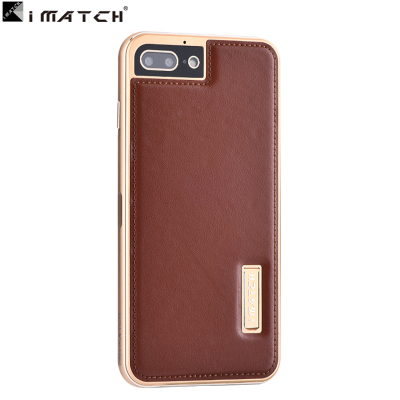 For Apple Iphone 7 Case Cover Superior Quality Genuine Leather Back Cover With Premium Aluminum Metal