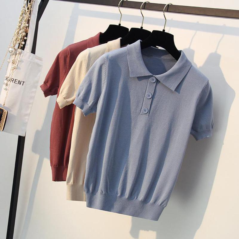 Tricot femmes chemises 2019 à manches courtes femme tricoté polos chandails minces dames mode étés hauts blanc bleu rouge