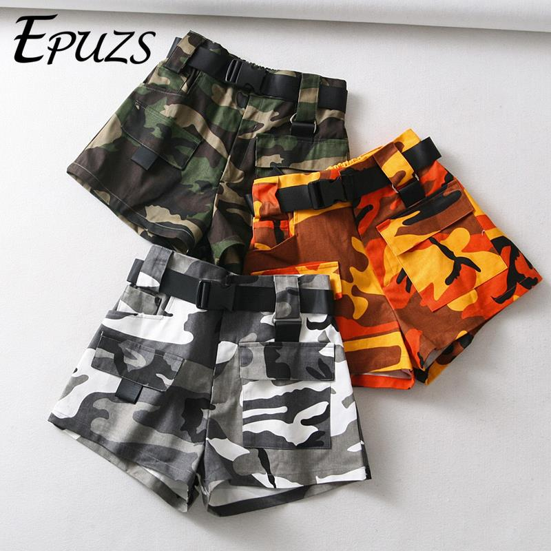Summer Belt Camouflage Biker Shorts Women Sexy High Waist Shorts Streetwear Cotton Cargo Shorts Korean Short Feminino 2019