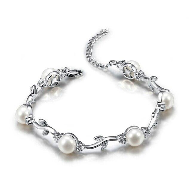 bb0ec8fa694f Sinya 925 Joyas pulsera de Plata con 6 unids 7.5-8mm perlas de agua dulce