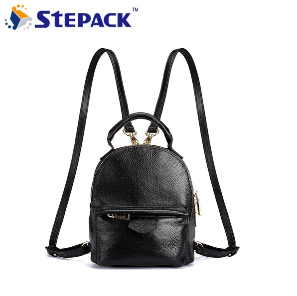 New Style Genuine Leather Wome Backpack Mutlifunction Black School Bags For Girls Rucksack Mochila Feminina WMB0218