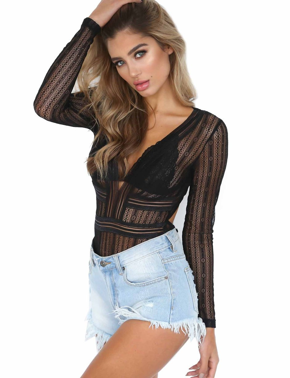 Hot selling Sexy Long Sleeve V Neck Bodysuit Women Backless Lace Casual Tops Rompers Jumpsuit