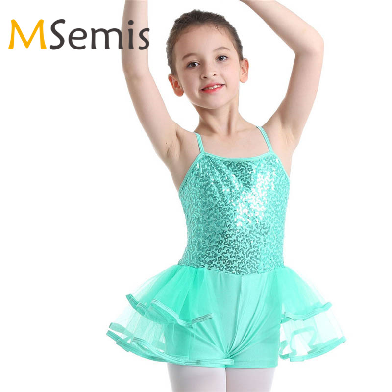Girls Ballet Dance Dress Kids Gymnastics Skating Leotard Tutu Dancewear Costume