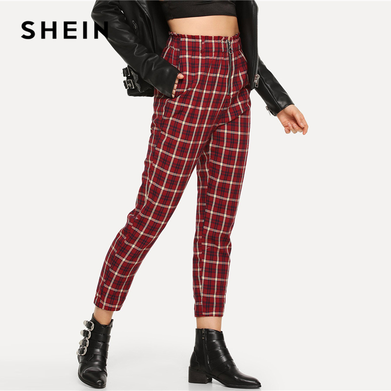 9a563dbf18 SHEIN Burgundy Casual Plaid Pocket Exposed Zip Fly Elastic Waist Peg Carrot  Pants 2018 Autumn Modern Lady Fashion Women Trousers-in Pants & Capris from  ...