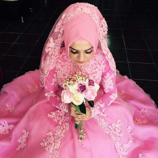Saudi Arabia Long Sleeves Muslim Pink Wedding Dresses Appliques Beading font b Hijab b font Ball