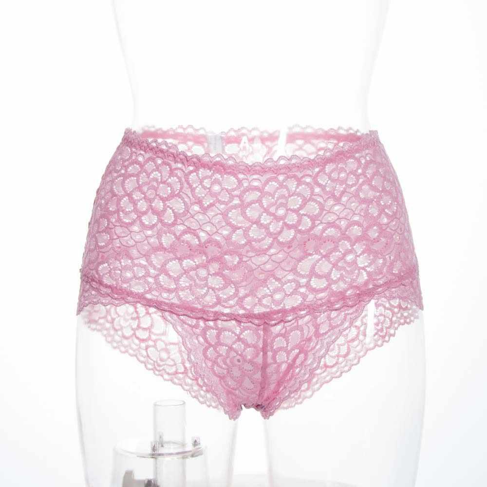 Taille haute Transparent slip sans couture culotte dentelle florale Sexy culottes femmes sous-vêtements