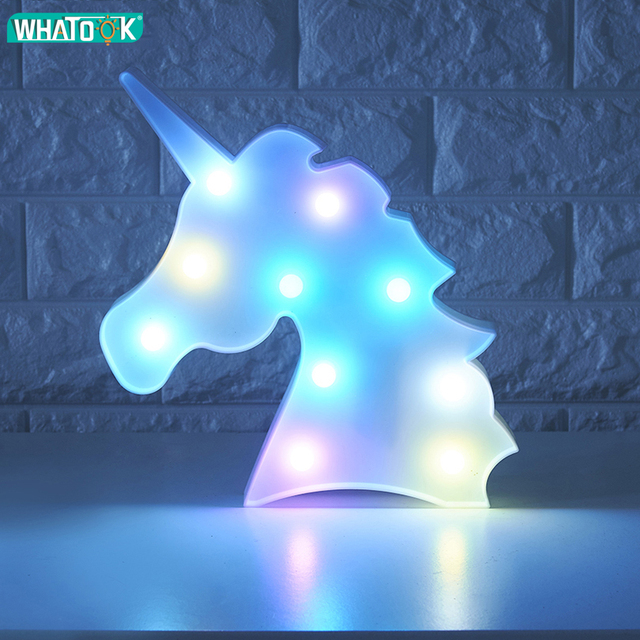 Unicornio Led Night Lights Unicorn Party 3D LED Table Lamp Novelty Animal Marquee Sign Letter Lamp Luminaria Baby Kids Toys Gift