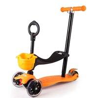 4 в 1 детей Bicicleta скутер игрушки флэш колеса музыка открытый малыш качели велосипед автомобиль слайд ездить на игрушки регулируемый высота