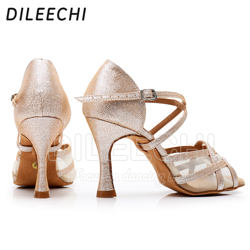 Image 4 - DILEECHI Latin dance shoes Women Flash Satin Gold Silver Black wide thin high heel 9cm Salsa Performance Ballroom dancing shoes-in Dance shoes from Sports & Entertainment