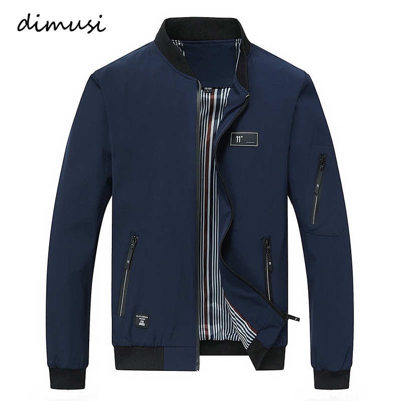 DIMUSI Autumn Mens Jacket Stand Collar Windbreaker Male Blue Baseball Jackets Casual Thin High Quality Size M-4XL,PA072