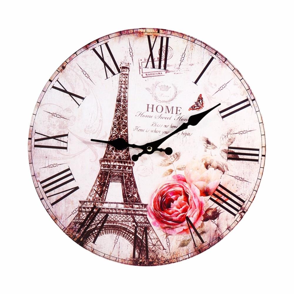 antique retro stile europeo rotondo parigi torre eiffel orologio da parete cucina casa decorativo orologio da