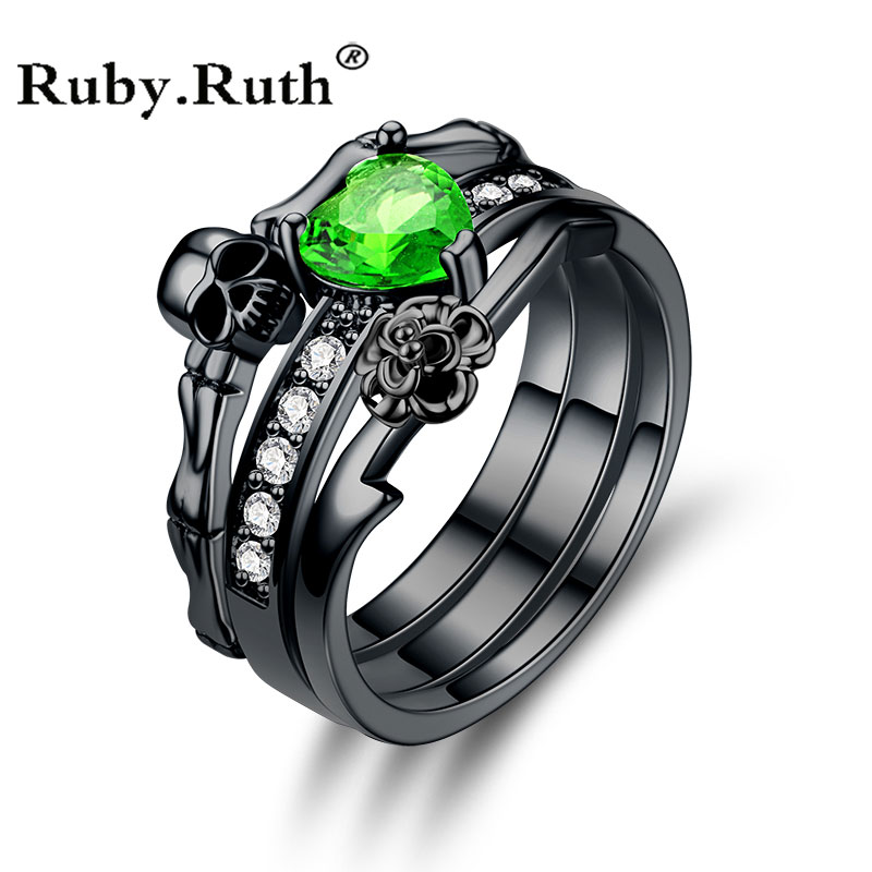Punk Skull Red Green CZ Silver Promise Ring for Women Fashion Wedding Valentine's Day Jewelry Gift Dropshipping