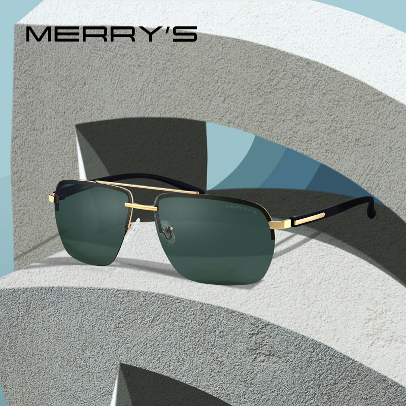 MERRYS DESIGN Men Classic Sunglasses Rectangle Rimless Luxury Brand Polarized Sun glasses Male Eyewear UV400 Protection S8163