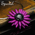Special New Fashion Maxi Necklaces amp& Pendants Flower Design Black Onyx Choker Necklace Free Shipping For Girls Women XL150408