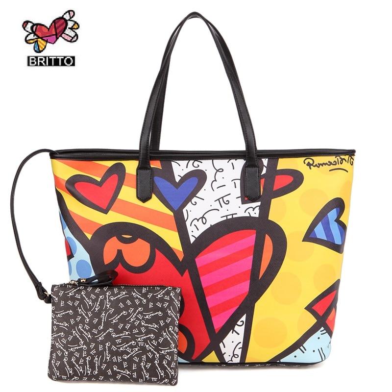ФОТО RMERO BRITTO New Realer Brand Printed Leather Bags Vintage Handbags Womens Medium Big Tote Bags Female Graffiti Bags for Women