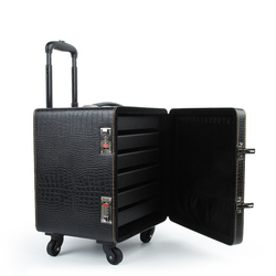 Neue PU leder trolley schmuck box, spezielle koffer für business anpassung, ausstellung schmuck box mit passwort lock