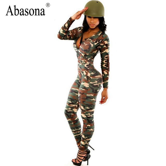 Summer Long Sleeve Sexy Bodycon Wear High Waist Camouflage Skinny Rompers Womens Jumpsuit Bodysuit Overalls Sportsuit