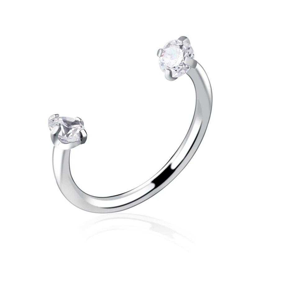 1pc Steel Horseshoe Piercing Clear Gem Nose Lip Earrings Septum Cartilage  Piercing Helix Captive Hoop Ring