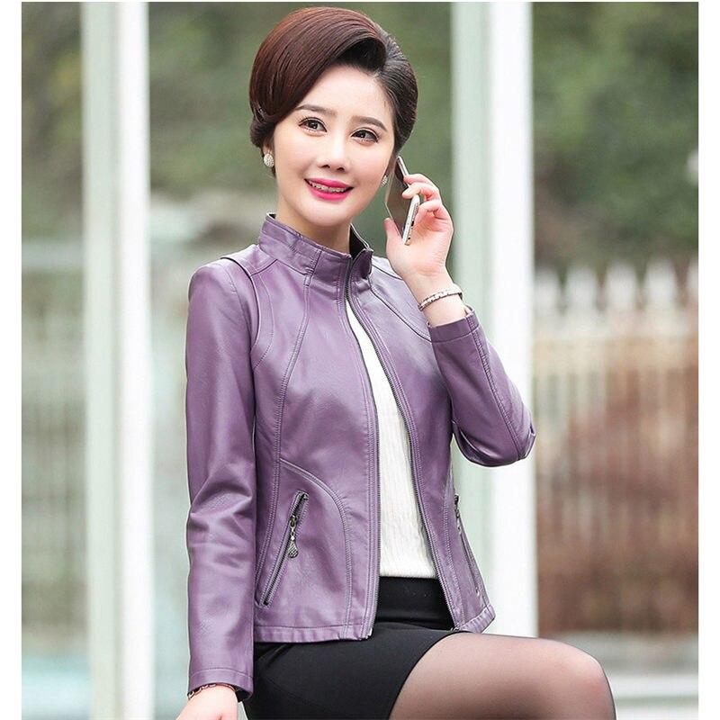 ผู้หญิงหนังแจ็คเก็ต Plus ขนาดเสื้อแจ็คเก็ต 2019 ใหม่ Faux หนังแจ็คเก็ตผู้หญิงฤดูใบไม้ร่วงซิป Slim Coat M 5XL f485-ใน หนังและหนังกลับชนิดนิ่ม จาก เสื้อผ้าสตรี บน   3