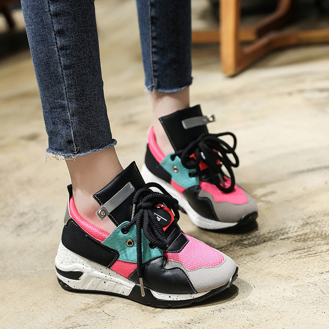 8b236ee466e3 European famous designer espadrilles shoes woman patchwork shoes mixed  color lace up flats brand moccasins wedges creepers 2018