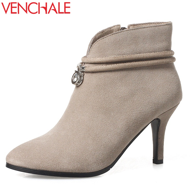 VENCHALE good quality fashion ankle boots women shoes 2017 new style 8 cm high heel real cow suede leather booties pointed toe front lace up casual ankle boots autumn vintage brown new booties flat genuine leather suede shoes round toe fall female fashion