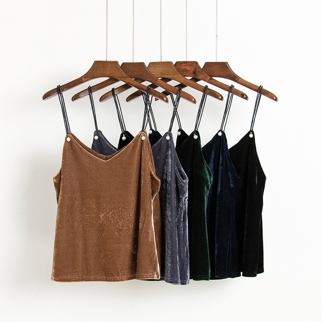 Moda Sexy decote em v beading pérola tanque camisola encabeça partido Velvet mulheres camis encabeça Outono streetwear natal cinta cami