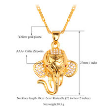 U7 Indian Elephant Pendant Gold Plated Cubic Zirconia Trendy Lovely Animal Necklace Women/Men Jewelry P471