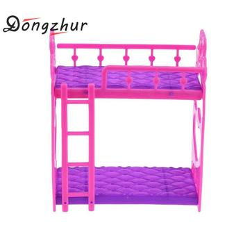 1 Set Cute Hot Pink Dolls House Plastic Bunk Bed Play House Kids Toys Assembly Doll Furniture Accessories Toys For Children telle mère telle fille vetement