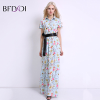 BFDADI 2017 Summer Flowers Printed Sexy Turn Down Collar Short Sleeves Bohemia Elegant Women Long Dress