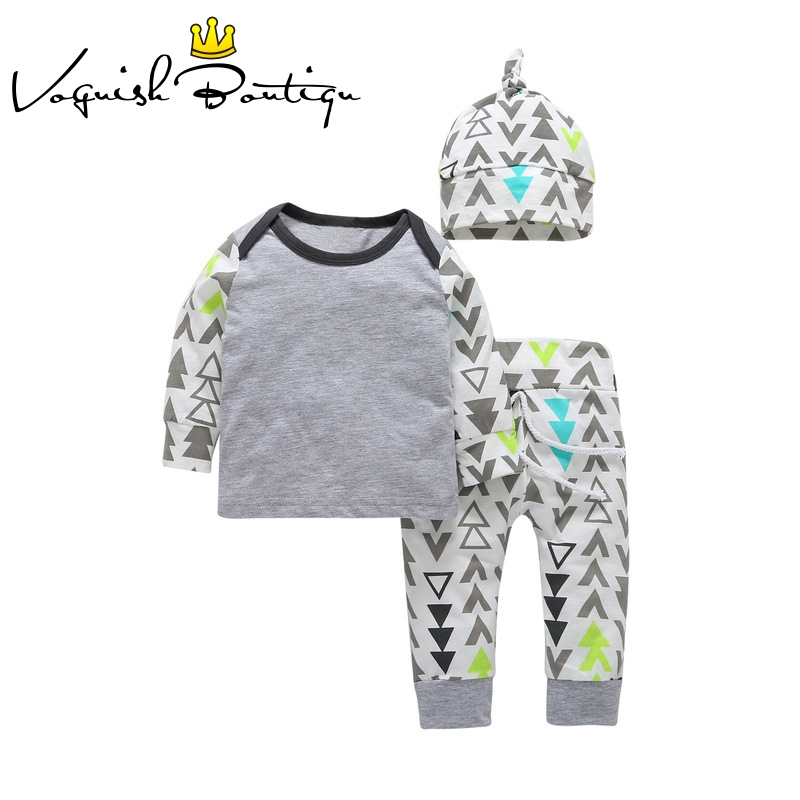 Baby boy clothes new born baby clothes cotton t shirt with leggings and hat vestido 3pcs/ set boys clothes