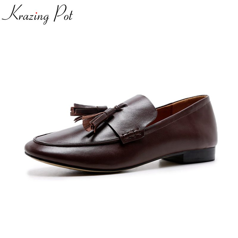 Krazing Pot genuine leather pointed toe shallow casual flats high street fashion neutral fringe slip on women pregnant shoes L00 women fashion bow pointed toe slip on girls flats ladies casual breathable ballerinas shallow flats women flat students shoes