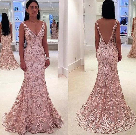 New Fabulous Mermaid Evening Dress 2019 V-Neck Sleeveless Floor Length Beaded Lace Prom Dresses Robe De Soriee