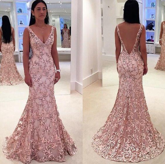 New Fabulous Mermaid Evening Dress 2019 V-Neck Sleeveless Floor Length Beaded Lace Prom Dresses Robe De Soriee