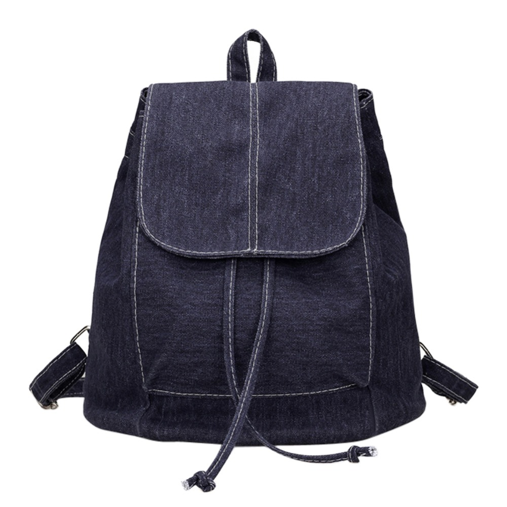 Women Canvas Backpacks for teenage Girls Small Drawstring Backpack jeans for Teenage Sac A Dos New Solid School Rucksacks
