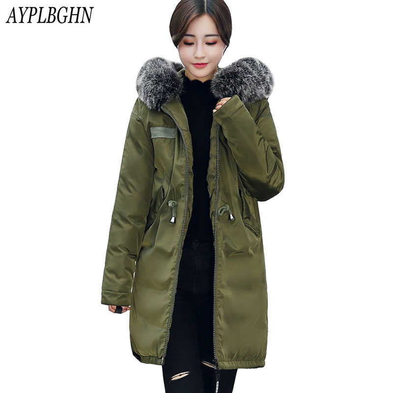 2017 New Winter Women Jacket Coat Long Women   Parkas   Female Outerwear Fashion Slim Lady Clothing Plus size Thick Jackets 7L72