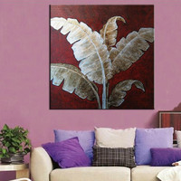 Hand Painted Abstract Foliage Oil Paintings on Canvas Large Painting Modern Home Decor Wall Art Leafs of Banana Tree Pictures