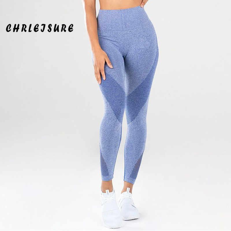 CHRLEISURE Nova Activewear Mulheres Leggings de Cintura Alta Cor Sólida Malha Patchwork Poliéster Sportswear Leggings Calças Stretch Fino