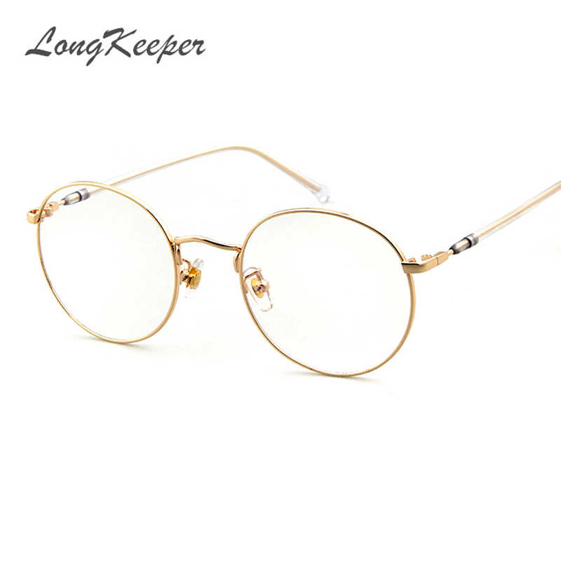 e935be76237b LongKeeper Korean Round Glasses Frame Clear Lens Women Men Retro Gold  Eyeglass Optic Frame Eyewear Vintage