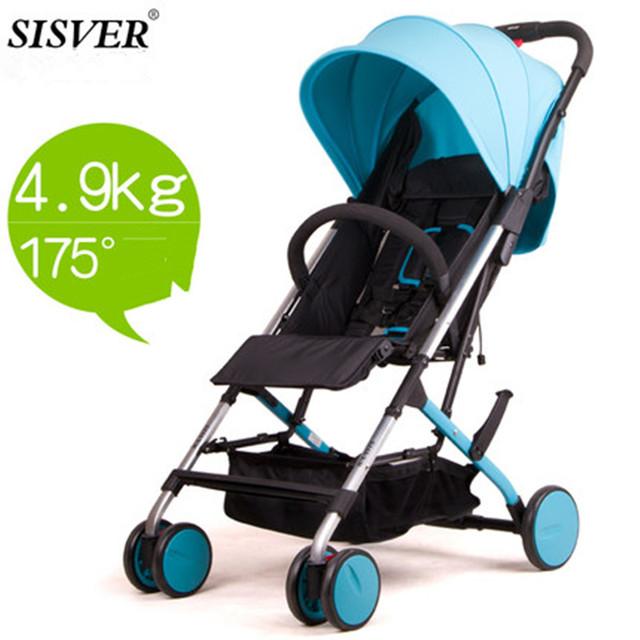 SISVER Nova Moda Bebê Carrinho De Criança, 3 cores quatro rodas único assento, pode dormir, assento pode,