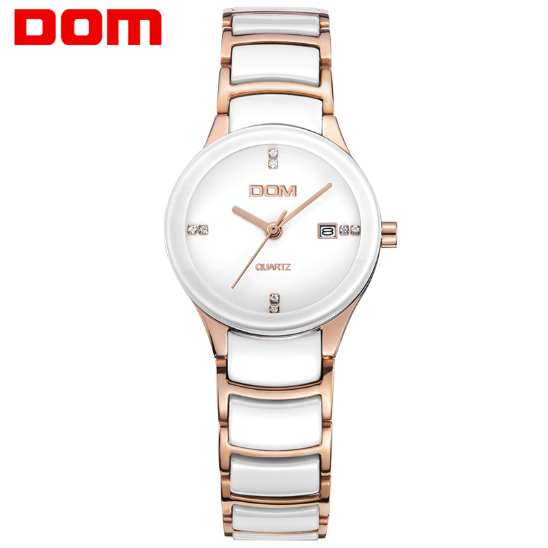 DOM women watches luxury brand Casual waterproof style quartz ceramic Automatic date watch reloj hombre marca de lujo T-529 dom mens watches top brand luxury waterproof leather man nurse reloj hombre marca de lujo men watch m3211