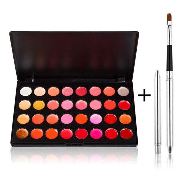 32 Colors Gorgeous Lip Gloss Long Lasting Lipstick Palette Makeup Moisturizer Lipgloss with Lip Brush