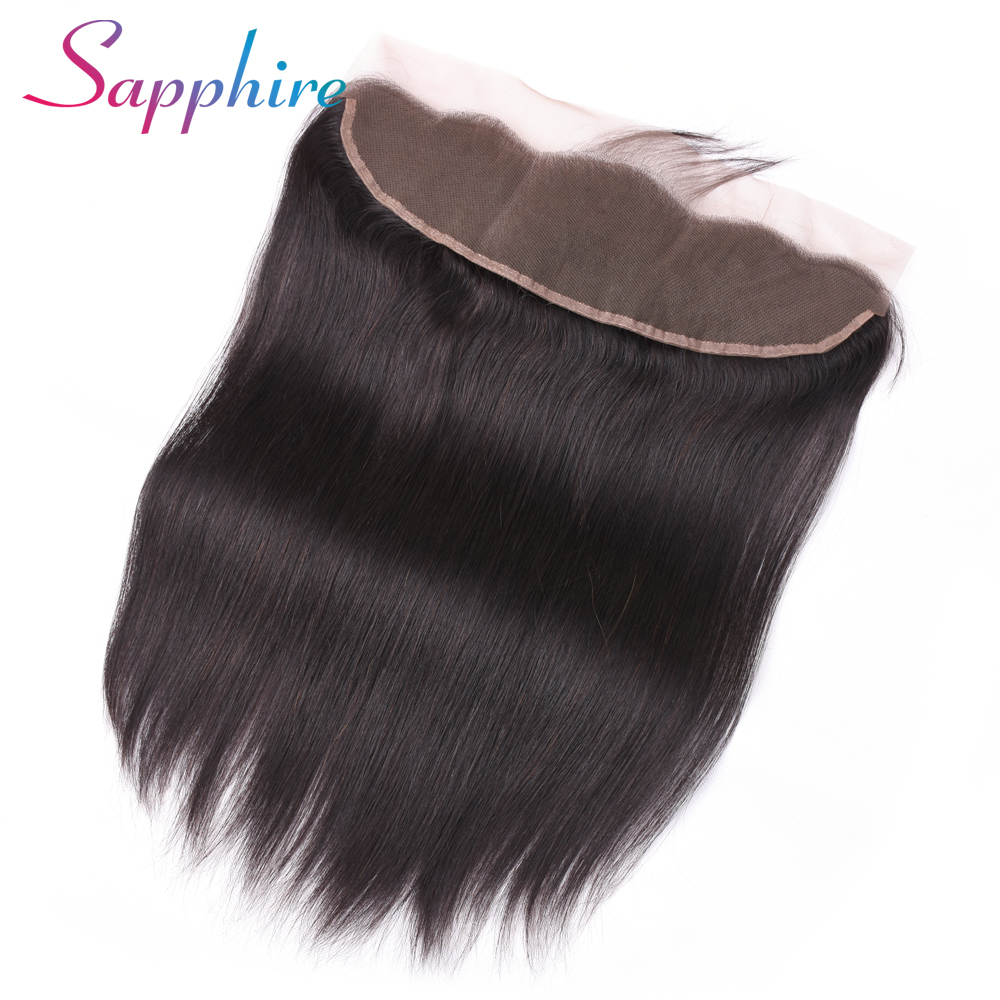 Sapphire Hair Ear To Ear Lace Frontal Closure 13X4 Free Part With Baby Hair Brazilian Straight Human Hair Non Remy Hair(China)