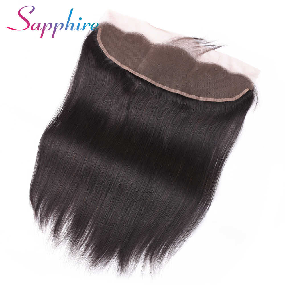 Сапфировые волосы с ушками на ухо, кружева, лобовое Закрытие 13X4, Бесплатная часть с волосами младенца, бразильские прямые человеческие волосы, не реми волосы