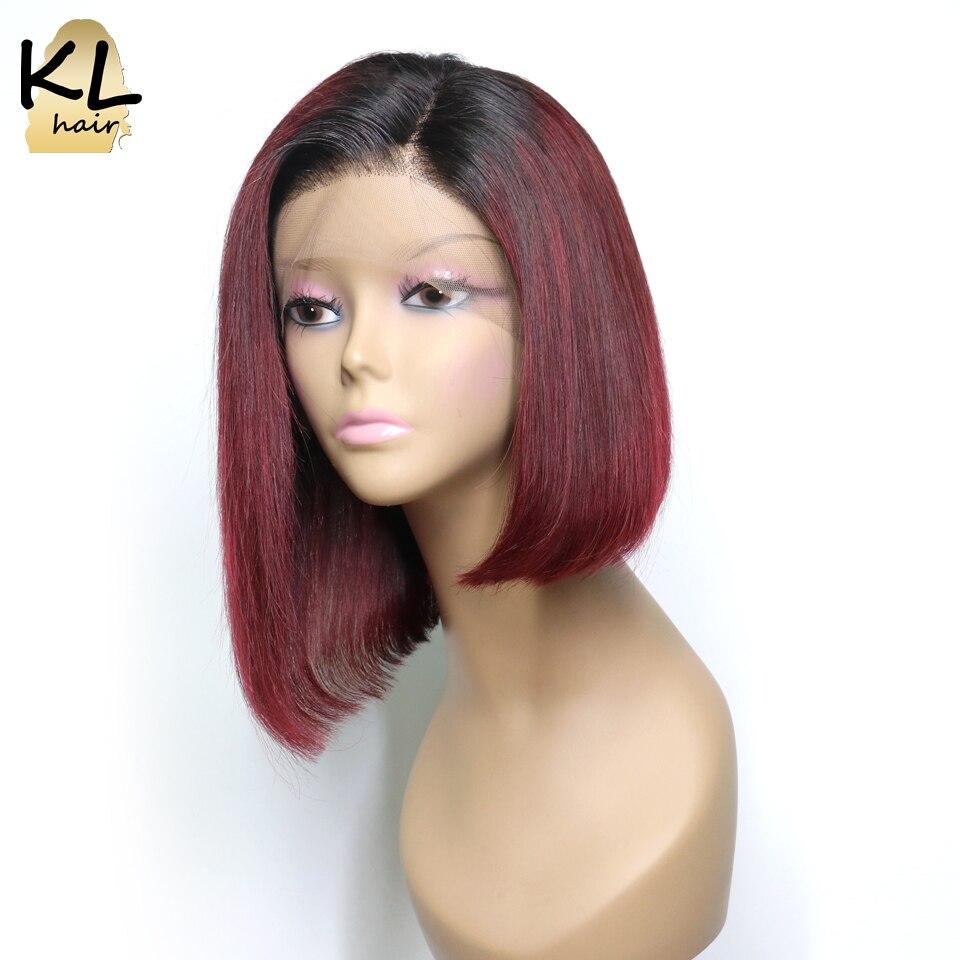T1B Burgundy Lace Front Human Hair Wigs For Black Women Brazilian Remy Hair Straight Short Bob