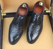Sapatas de Vestido Plissado Feito À Mão dos homens de Couro Genuíno Xadrez Masculino Smart Casual Oxfords Lace Up Sapatos de Casamento