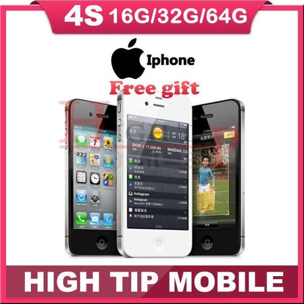 """Factory Unlocked Оригинальный Apple iphone 4S 8 ГБ/16 ГБ/32 ГБ/64 ГБ Мобильный телефон Dual core Wi-Fi GPS 8.0MP 3.5 """"Сенсорный Экран iOS ИСПОЛЬЗУЕТСЯ"""