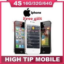 "Desbloqueado de fábrica original de apple iphone 4s 8 gb/16 gb/32 gb/64 gb teléfono móvil dual core wi-fi gps 8.0mp 3.5 ""pantalla táctil de ios utilizado"